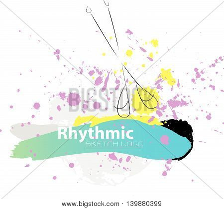Vector artistic Rhythmic Gymnastic sketch clubs. Hand drawn brush stroke paint drops, spot, sketching for graphic design, poster, banner, flayer, placard, card, competition. Art grange style.