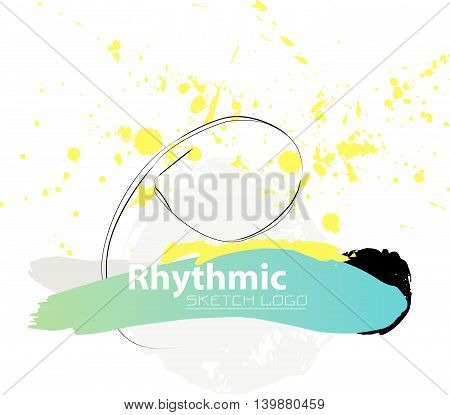 Vector artistic Rhythmic Gymnastic sketch ribbon. Hand drawn brush stroke paint drops, spot, sketching for graphic design, poster, banner, flayer, placard, card, competition. Art grange style.