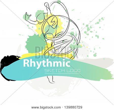 Vector artistic Rhythmic Gymnastic sketch logo. Hand drawn brush stroke paint drops, spot, sketching for graphic design