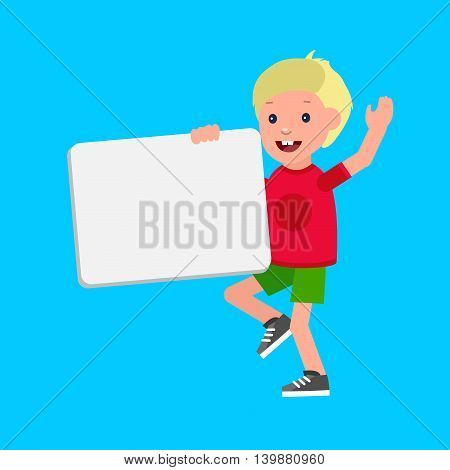 vector illustration of kid boy standing behind placard. Cheerful child holding white poster