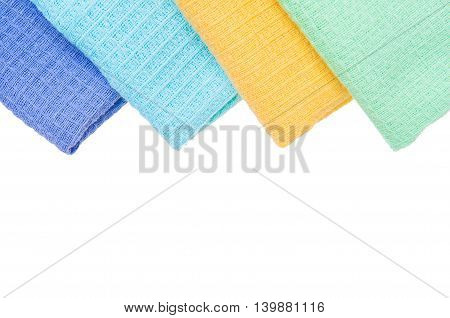 multicolor tablecloth isolated on white, violet, blue yellow