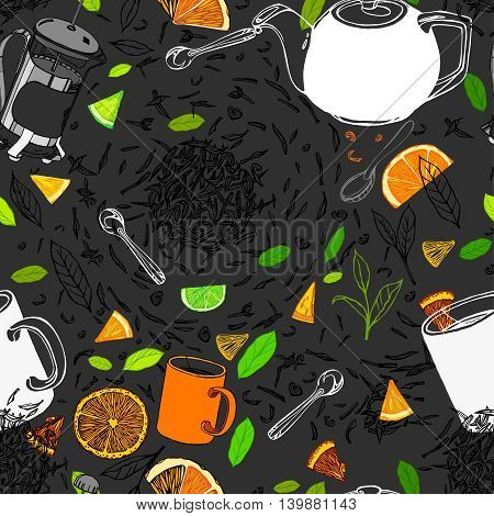 Handdrawn vector illustration. Seamless pattern with tea leaves, citrus segments, ceramic teapot, white mug, teacup and spoon. Black ink drawing on a white background.