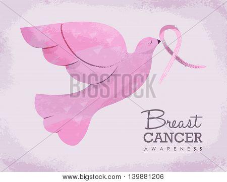 Pink Dove Illustration For Breast Cancer Awareness