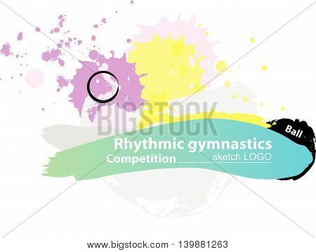 Vector artistic RG sport's inventory sketch template. Hand drawn brush stroke paint drops, spot, sketching for graphic design, poster, banner, flayer, billboard, placard, card, competition. Art grange style illustration.