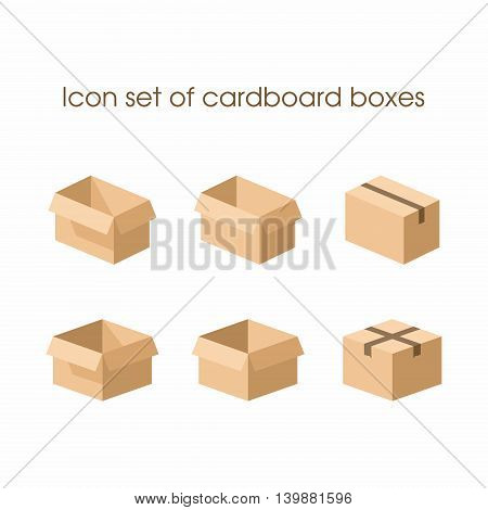 Cardboard boxes in three different under different uses . Can be used as a logo or icon for various projects