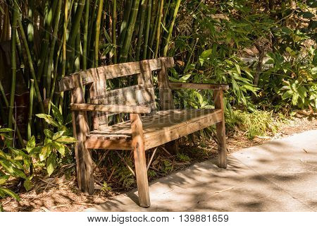 wooden rustic bench of ecological materials with bamboo trees behind it