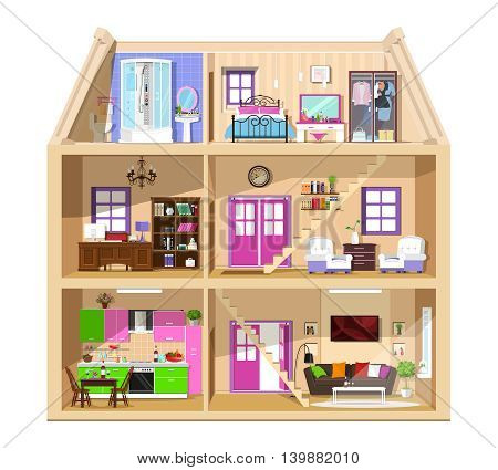 Detailed colorful home interior. Modern vector building inside. Flat style house in cut.