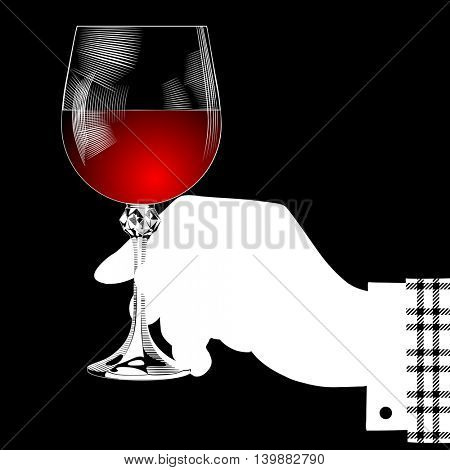White silhouette of hand holding a glass with red wine on black. Vintage stylized drawing. Vector illustration