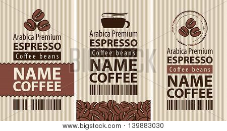 carton packaging and label coffee with coffee beans and cup