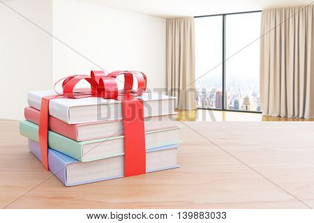 Wooden surface with stack of colorful book tied up with a ribbon as a present on interior background. 3D Rendering