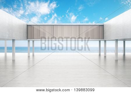 Concrete exterior by the sea on bright blue sky background. 3D Rendering