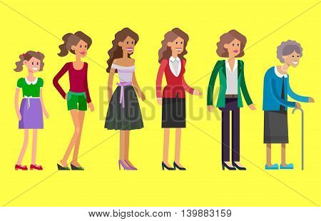 Detailed character woman Generations . All age categories - childhood, adolescence, youth, maturity, old age. Stages of development
