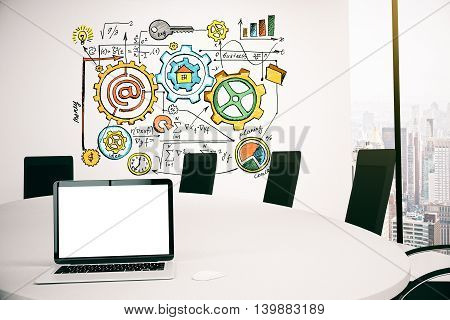 Conference room interior with blank notebook and business sketch on concrete wall. Mock up 3D Rendering