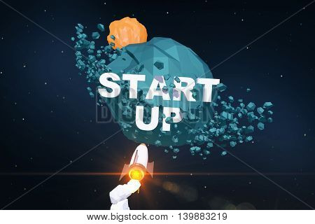 Startup concept with rocket ship going towards abstract green planet with text. 3D Rendering