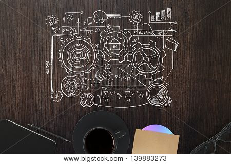 Top view of wooden desktop with business sketch coffee cup cd smartphone pen and glasses. 3D Rendering