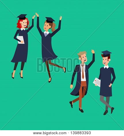 Vector character graduate and students, students graduation. University courses, online education, exam preparation