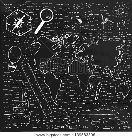 World vintage map. Travel and geography chalk picture. Vector illustration. Hand drawn image. Artistic creative concept. White and black colors