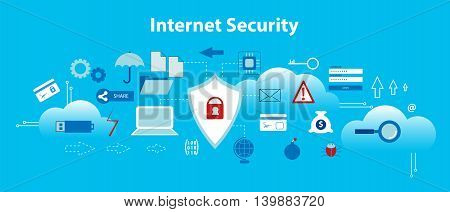 Modern flat design vector illustration infographic concept of internet security secure online and data protection for graphic and web design