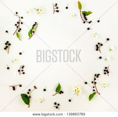 Colorful Bright Pattern Of Leaves, Berries And Flowers. Flat Lay, Top View