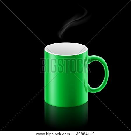 Green office mug with a small stream of smoke above it on black background.