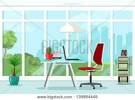 Cool graphic office room interior design with great window and furniture: chair, table, bookcase, lamp. Flat style vector illustration.