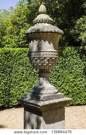 A view of a beautiful Vase situated in the gardens at Ickworth House in Suffolk.