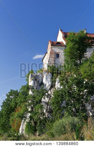 The Benedictine Abbey in Tyniec in Poland on blue sky background