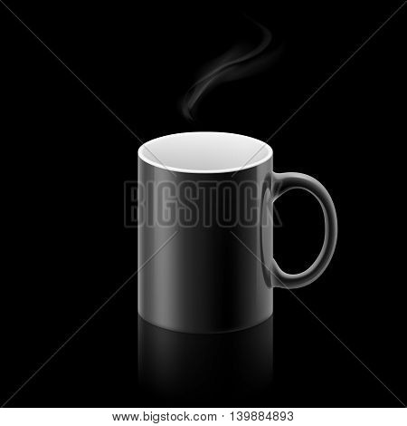 Black office mug with a small stream of smoke above it on black background.