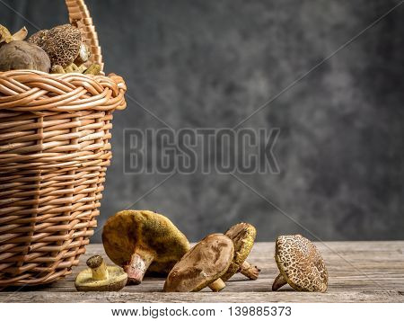 Wicker basket full of edible mushrooms on wooden table