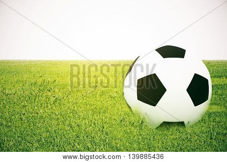 Closeup of football on grass. White background. 3D Rendering