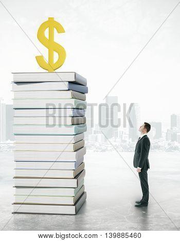 Businessman Looking At Dollar Sign