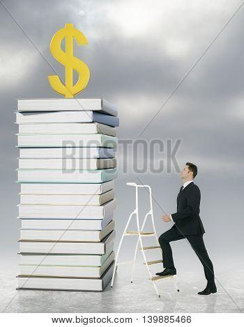 Man Climbing Ladder To Dollar