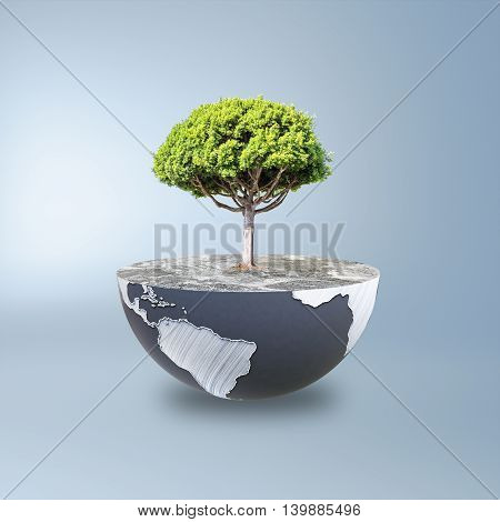 Half a globe with large tree on blue background. Green earth concept. 3D Rendering