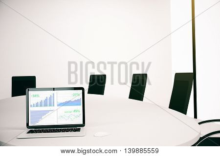 Conference room interior with business charts on laptop computer screen and blank wall in the background. Mock up 3D Rendering