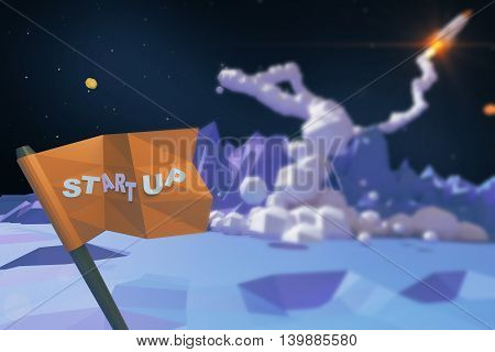 Start up concept with abstract polygonal planet blurry launching rocket ship and flag with text. 3D Rendering