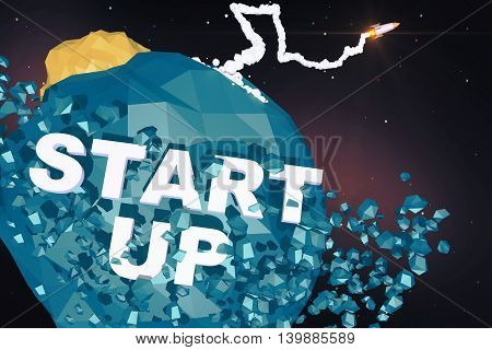 Rocket ship launching from abstract blue polygonal planet with text. Startup concept 3D Rendering