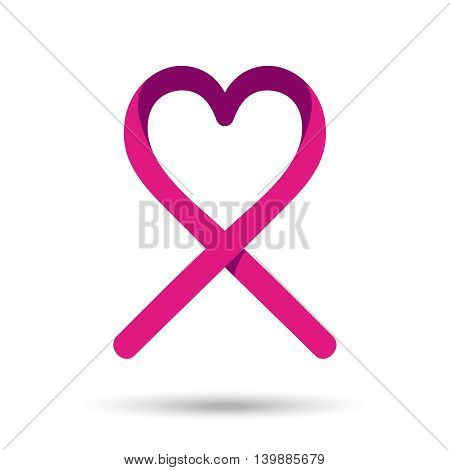 Breast Cancer Awareness Love Ribbon In Pink Color