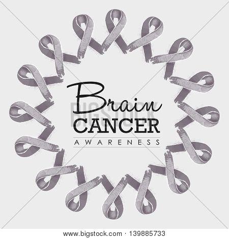 Brain Cancer Awareness Ribbon Illustration Design