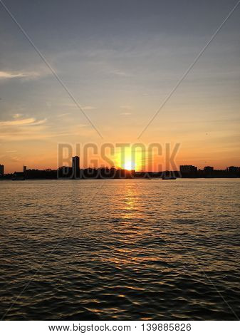 Sunset over the Hudson River in New York City