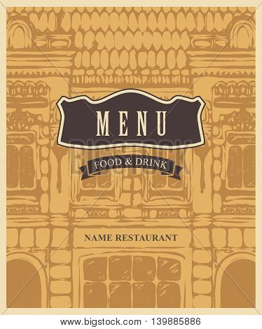 cover menu for cafe or restaurant with an old house drawing