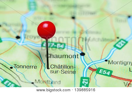 Chatillon-sur-Seine pinned on a map of France