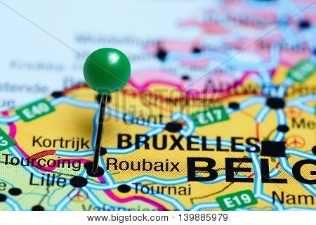 Roubaix pinned on a map of France