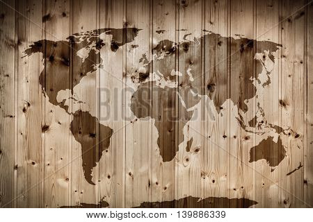 World map on wooden wall. Retro wood planks. Vintage