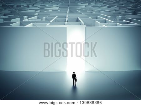 Businessman about to enter huge mysterious maze. Concept of challenge in life, career etc. 3D illustration