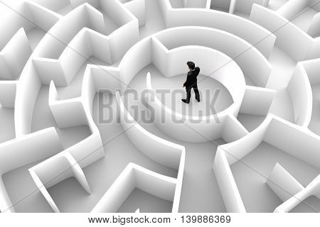 Businessman in the middle of the maze. Concepts of finding a solution, problem solving, challenge etc. 3D illustration