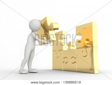 Toon man completes golden puzzle jigsaw. Concept of business solution, solving a problem. 3D illustration