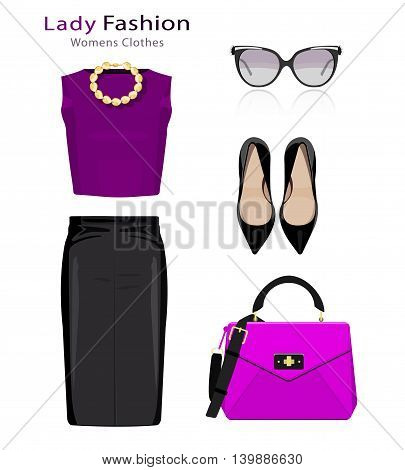 Flat design concept of fashion look. Woman clothing set with accessories. Colorful trendy clothes objects