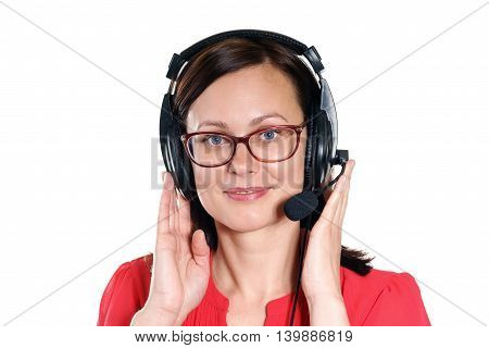 Support phone operator in headset on a white background