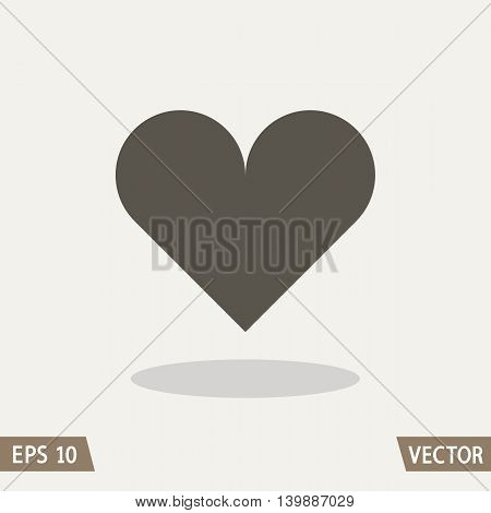 Heart icon isolated on light background. Flat design style. Vector illustration for web and commercial use.