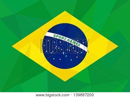 Brasil flag in low poly style on sport theme. Vector illustration in national colors green yellow blue.
